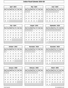 2020 Fiscal Year Calendar Download Indian Fiscal Calendar 2019 20 Excel Template