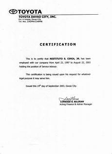 Service Certificate Model Employment Certificate Sample Word Template Design