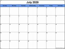 July 2020 Calendar Printable July 2020 Calendar Free Printable Monthly Calendars
