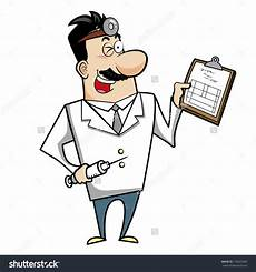 Medical Chart Cartoon Illustration Of A Cartoon Doctor With A Syringe And