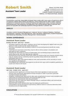 Cv For Team Leader Assistant Team Leader Resume Samples Qwikresume