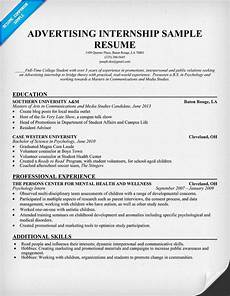 Advertising Internship Resume Advertising Internship Resume Template Resumecompanion