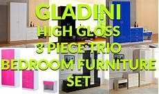 gladini high gloss 3 trio bedroom furniture set
