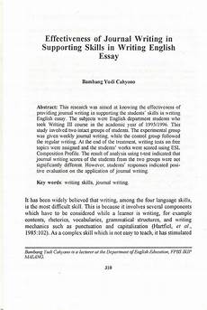English Essay Writing Examples Pdf Effectiveness Of Journal Writing In Supporting