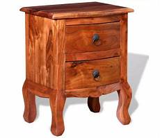 vidaxl nightstand with drawers solid acacia wood vidaxl