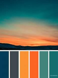 orange teal sky inspired color palette bedroom color