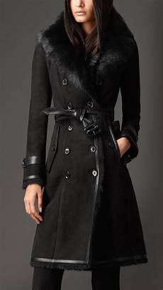 black coats for lyst burberry shearling trench coat in black