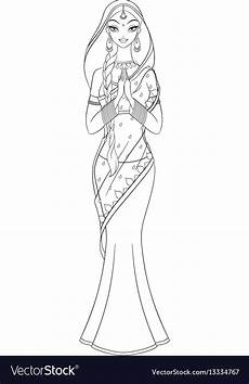 outlined indian in sari coloring page vector image
