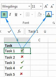 Tick Sheet Excel How To Insert A Tick Symbol Checkmark In Excel