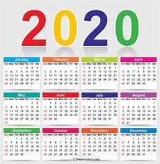 images for calendar 2020 colorful 2020 calendar vector