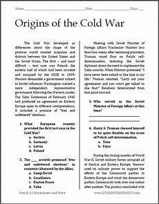 Origins Of The Cold War Reading With Questions Student