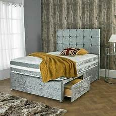 new crushed velvet divan bed with matching mattress and