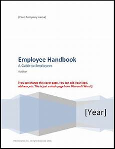 User Guide Cover Page Template Employee Handbook Template 2019 Hr Enterprise