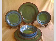 19 Piece Green Blue Tuscan Southwest Stoneware Look