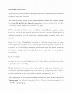 Qualities Of A Good Leader Essay What Makes A Good Leader