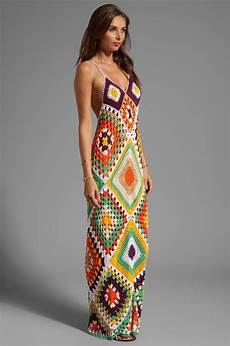 indah syra crochet maxi dress in gold mix coachella