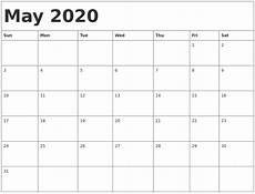 Calendar Template 2020 May 2020 Calendar Template