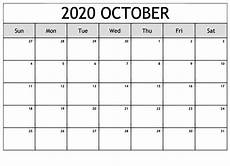 October Calendar Free Printable October 2020 Calendar Template