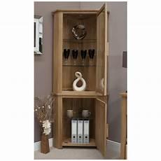 Light Oak Corner Display Cabinet Nero Solid Oak Furniture Corner Display Cabinet Unit With