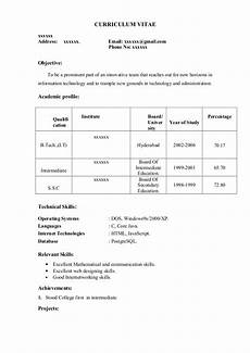 Curriculum Vitae Samples For Freshers Fresher Resume Sample12 By Babasab Patil