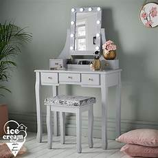 grey led lights dressing table 5 drawers vanity