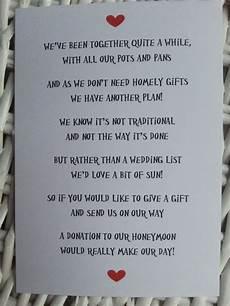 Wedding List Poems Wedding Poem Money As A Gift Since We Already Have