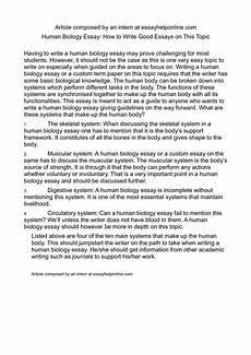 Bio Essay Calam 233 O Human Biology Essay How To Write Good Essays On