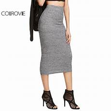 colrovie brief knit pencil skirt grey