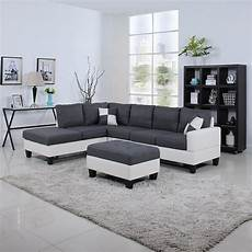 black white 2 tone leather living room sectional sofa