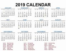 Free Calander 2019 Printable Calendar Templates Pdf Excel Word Free
