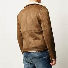Light Brown Suede Jacket Mens River Island Light Brown Faux Suede Fleece Jacket For Men