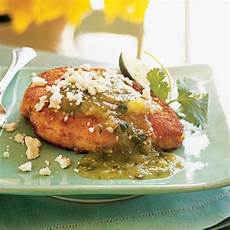 chicken with tomatillo salsa and queso fresco