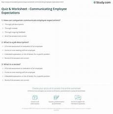 Employee Expectation List Quiz Amp Worksheet Communicating Employee Expectations