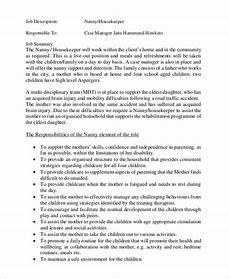 Nanny Description For Resume Free 8 Sample Nanny Job Description Templates In Ms Word