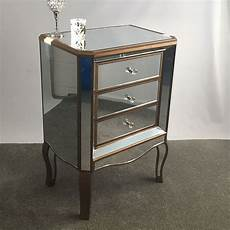 venetian gold 3 drawer mirrored bedside cabinet picture
