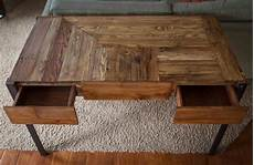 diy projects with wood pallet wood desk with metal legs and two drawers