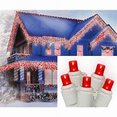 Red Christmas Lights With White Wire 70 Light Led Red Wide Angle Icicle Christmas Lights