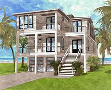 coastal contemporary house plan with rooftop deck