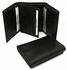 Trifold Genuine Leather Plain Black Wallet With Center