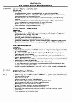 Server Admin Resume Windows Administrator Resume Samples Velvet Jobs