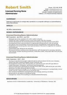 Nursing Administrator Resume Licensed Nursing Home Administrator Resume Samples