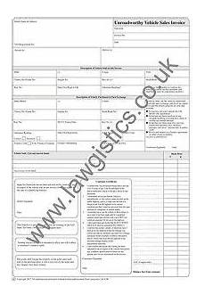 Invoice Selling Legally Compliant Unroadworthy Vehicle Invoice Pad