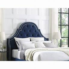 aaron navy blue velvet tufted headboard size