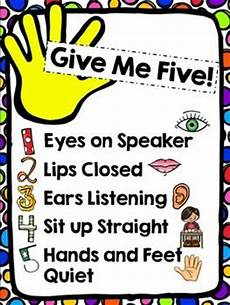 Give Me Five Rules Free Give Me Five Poster Kids Sunday School Lessons