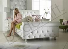 sleigh leather bed frame 3ft 4ft6 white