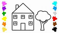 coloring for kids with house tree art colouring book