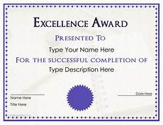 Word Certificate Templates Free Download Excellence Award Certificate Templates At