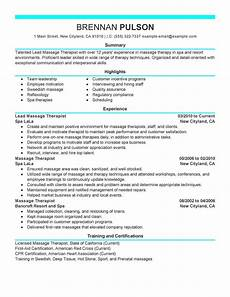 Spa Therapist Cv Best Lead Therapist Resume Example Livecareer