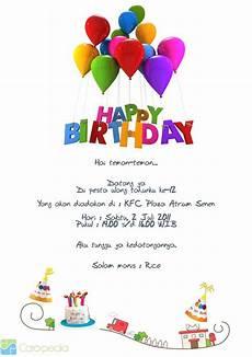 contoh surat undangan ulang tahun kata mutiara dan cinta