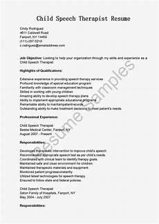 Speech Therapist Resume Resume Samples Child Speech Therapist Resume Sample